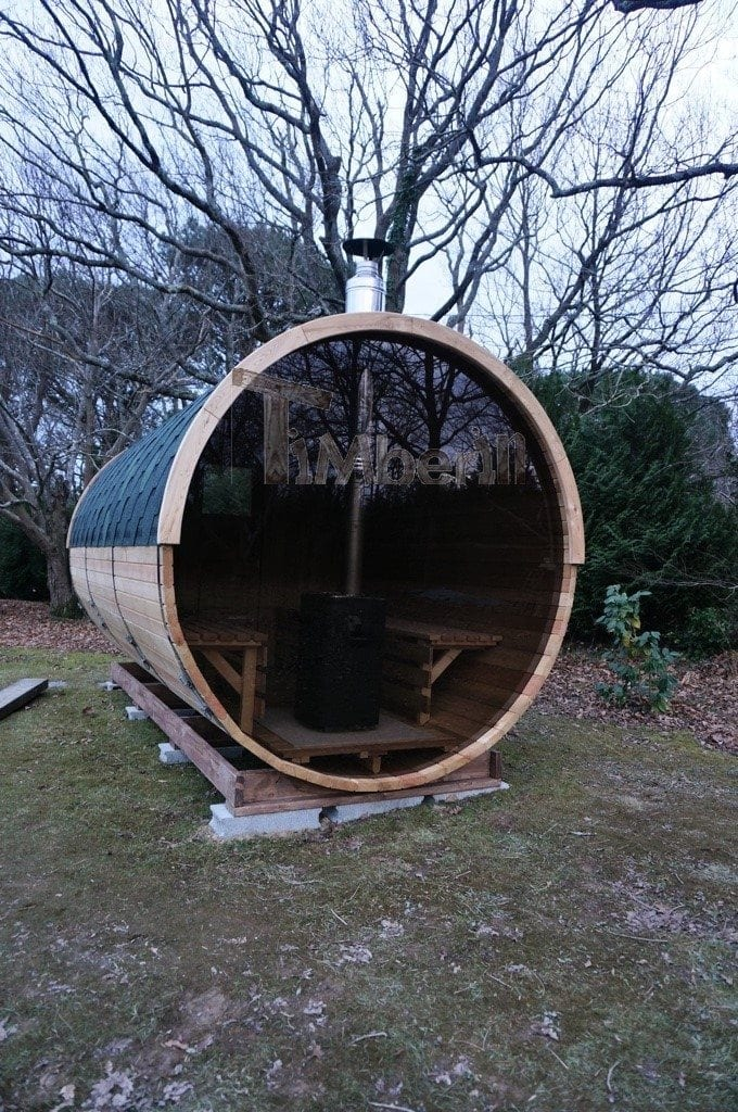 Sauna Barique En Bois De Méleze Avec Une Poêle De Bois, Avec La Fenêtre Panoramique, Thierry, Chemin Oianetxeberria, France (5)